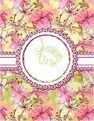 Card With Hand Drawn Flowers - Tiger Lilly. Floral Pattern With Round Frame. Design For Birthday, We
