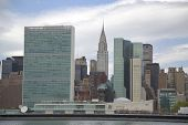 The United Nations building and Chrysler building in midtown Manhattan