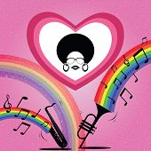 afro hairstyle lady on saxophone and trumpet background