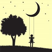stock photo of moon silhouette  - Child on swings hanging from moon and tree silhouettes - JPG