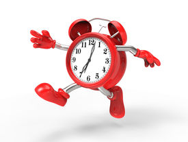 picture of running-late  - character alarm clock run isolated on white background - JPG