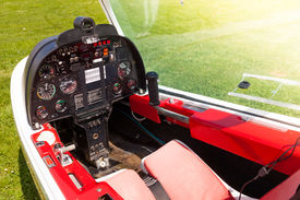 picture of ultralight  - Control board in the small cockpit of a microlight plane - JPG