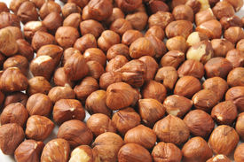stock photo of cobnuts  - A background of fresh organic hazelnuts or filbert - JPG