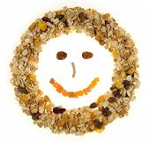 Happy Face Breakfast Cereal Isolated On A White Background