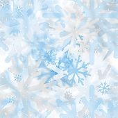 Abstract Seamless Pattern Of Snowflakes Blurry
