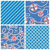 Set Of Seamless Nautical Patterns On Blue Background With White Rope, Anchors, Wheels, Lifebuoy. Rea