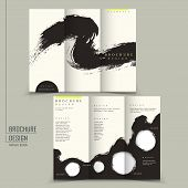 Tri Fold Chinese Calligraphy Style Business Brochure