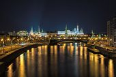 Night view of the Moscow Kremlin from the river.