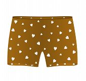 Boxer shorts with white hearts