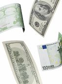 One Hundred Euro And Dollar Bill Collage Isolated On White