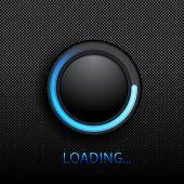 highly detailed upload button over black background