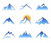 9 stylized mountains signs over white background