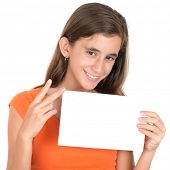 Hispanic teenage girl holding a blank sign and doing the V sign
