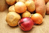 Red And White Onions With White And Sweet Potatoes