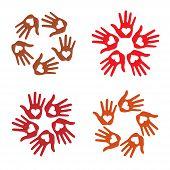 Set of Loving Hand Print icons