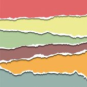 pic of cut torn paper  - Colored torn paper sheets - JPG