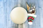 picture of knife  - Christmas day greeting card with plate knife and fork - JPG