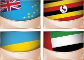 Flags illustration, Tuvalu, Uganda, Ukraine, United Arab Emi