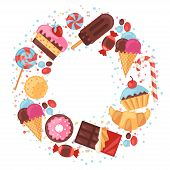 stock photo of candy cane border  - Background with colorful various candy - JPG