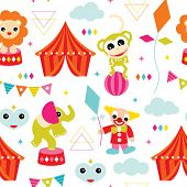 Seamless kids geometric circus animals monkey elephant clown and lion illustration vivid background pattern in vector