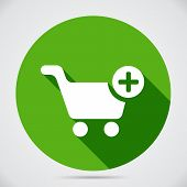 picture of trolley  - Shopping cart icon with a plus sign on green circle to add selected merchandise to the trolley for purchase at checkout - JPG