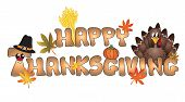 stock photo of thanksgiving  - illustration of funny writing happy thanksgiving with turkey - JPG