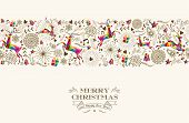 picture of merry christmas text  - Vintage Christmas elements reindeer jumping with text seamless pattern background - JPG