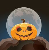 Halloween Pumpkin Closeup In Moon Light On A Rock