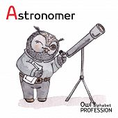 Alphabet professions Owl Letter A - Astronomer Vector Watercolor.