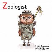 Alphabet professions Owl Letter Z - Zoologist Vector Watercolor.