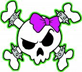 picture of skull crossbones  - punk pink and green colorful skull for the ladies - JPG