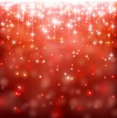 Red winter abstract background. Christmas background with snowflakes and sparkles. Vector.
