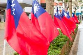 Taiwanese Flags Blowing In The Wind