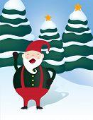 Santa elf in a snowy field of Christmas trees