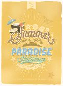 Vintage, Retro Summer Paradise Holidays Poster. Vector Background. With Typography
