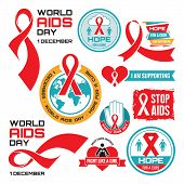 AIDS - vector badges collection. World AIDS day - 1 December.