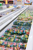 Samara, Russia - October 5, 2014: Showcase With Frozen Products In Supermarket Magnit. Russia's Larg
