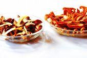 preprocessed slices of bay boletus and False saffron milk-cap