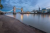 Thames River And Tower Bridge At The Evening, London, United Kingdom