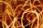 Fire streaks at night