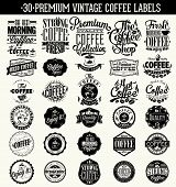Set Of Vintage Retro Coffee Labels. Coffee decoration collection | Set of calligraphic and typograph