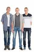 Three friends - two twin brothers and their best friend the same age. Isolated on wtite background