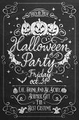 Vintage Halloween Party Poster On Chalkboard, Typographical background