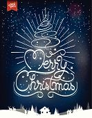 Merry Christmas And Happy New Year, Hand Drawn Vintage Typographical Background