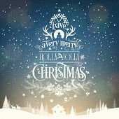 Merry Christmas And Happy New Year, Vintage Typographical Background