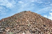 foto of sand gravel  - Sand heap in quarry plant in Helsinki Finland - JPG