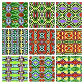 set of different seamless colored vintage geometric pattern, tex