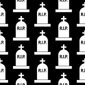 Grave Icon Seamless Pattern