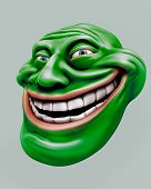 picture of troll  - Green laughing internet troll head 3d illustration isolated - JPG
