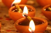 picture of diwali lamp  - oil lamps in diwali festival, close up